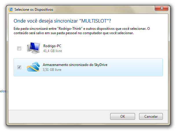Sincronia/backup na nuvem, com o Windows Live Mesh.