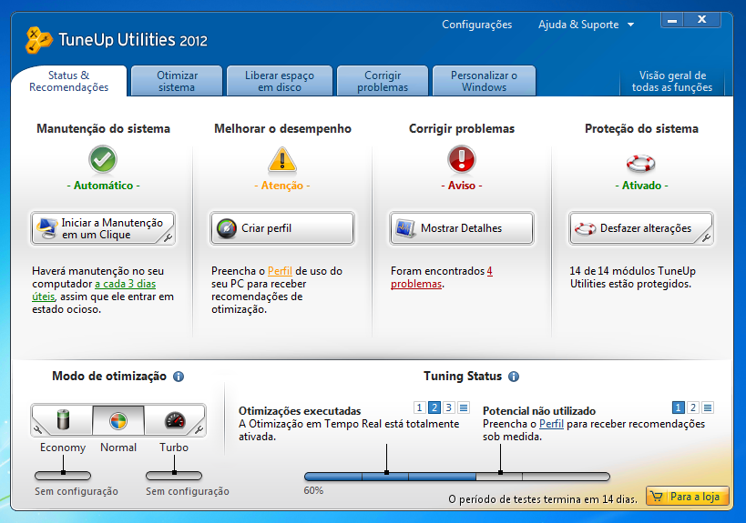 Screenshot do TuneUp Utilities 2012.