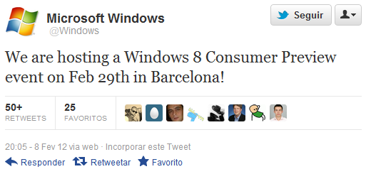 Tweet do @Windows avisando sobre a data do Windows 8 Consumer Preview.