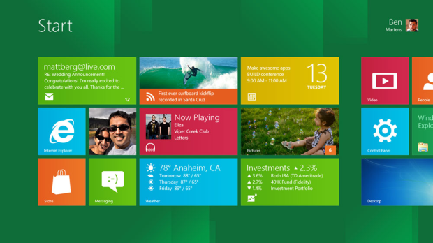 Screenshot da Start Screen do Windows 8.